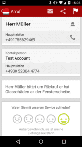 Anrufnotiz mit feedbackfunktion